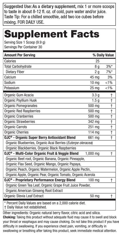 Certified Organic Juice Cleanse (OJC)<sup>®</sup> - OJC Super Reds - 5 Grams Fiber